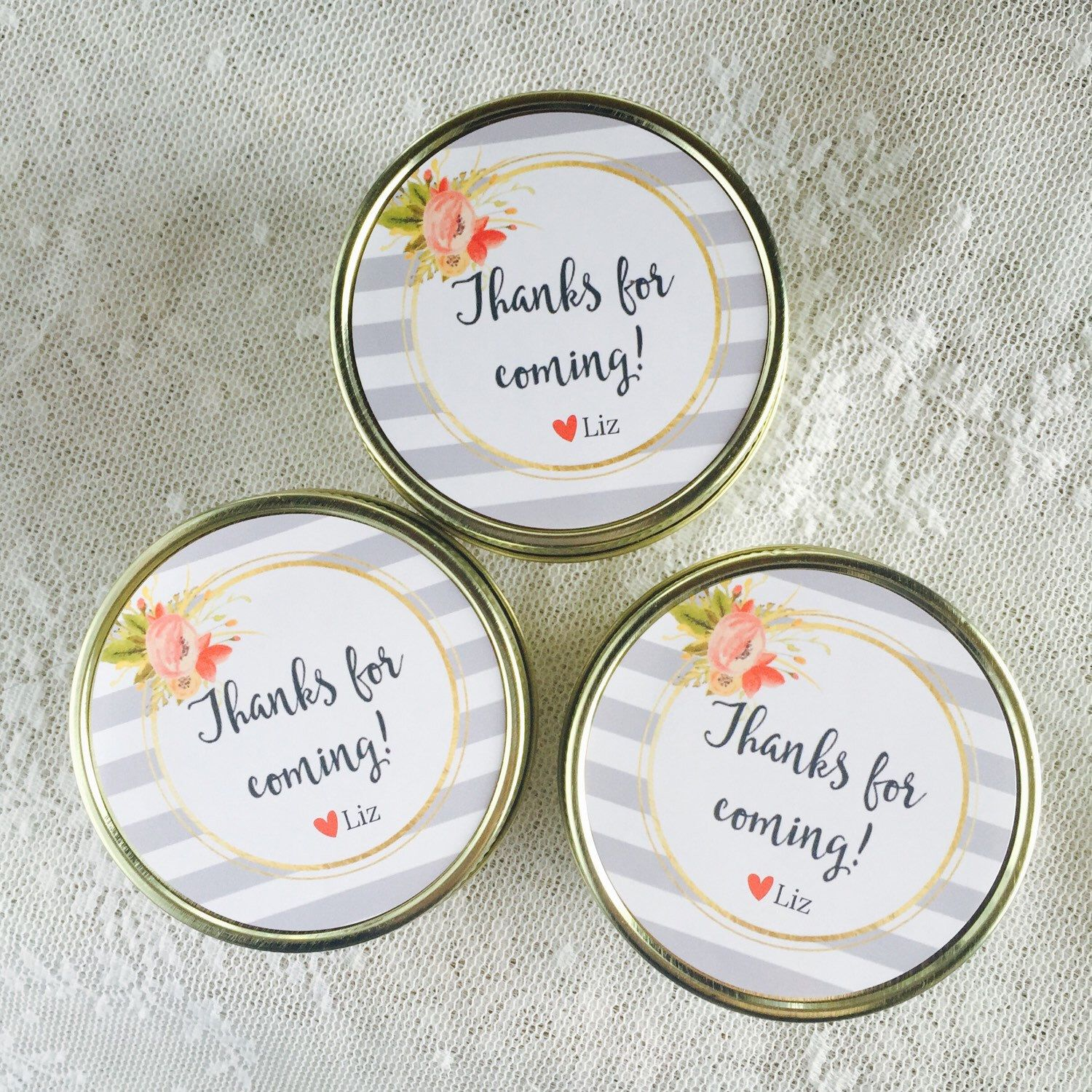 Candle wedding favors / striped wedding decor / wedding favor idea ...