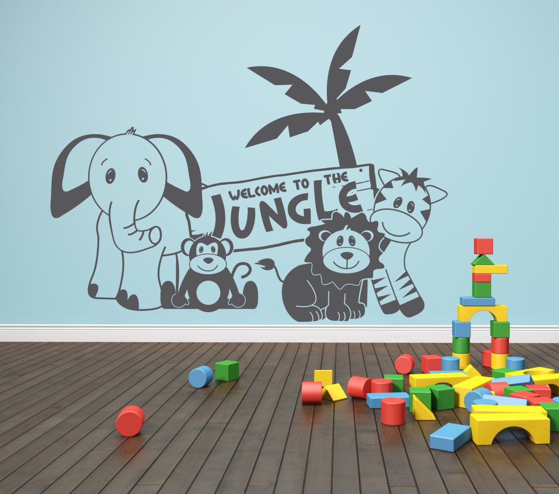 Elephant nursery wall art print mom baby dad by rizzleandrugee - Welcome To The Jungle Animals Vinyl Wall Decal Safari Animals Nursery Decor Boys Room