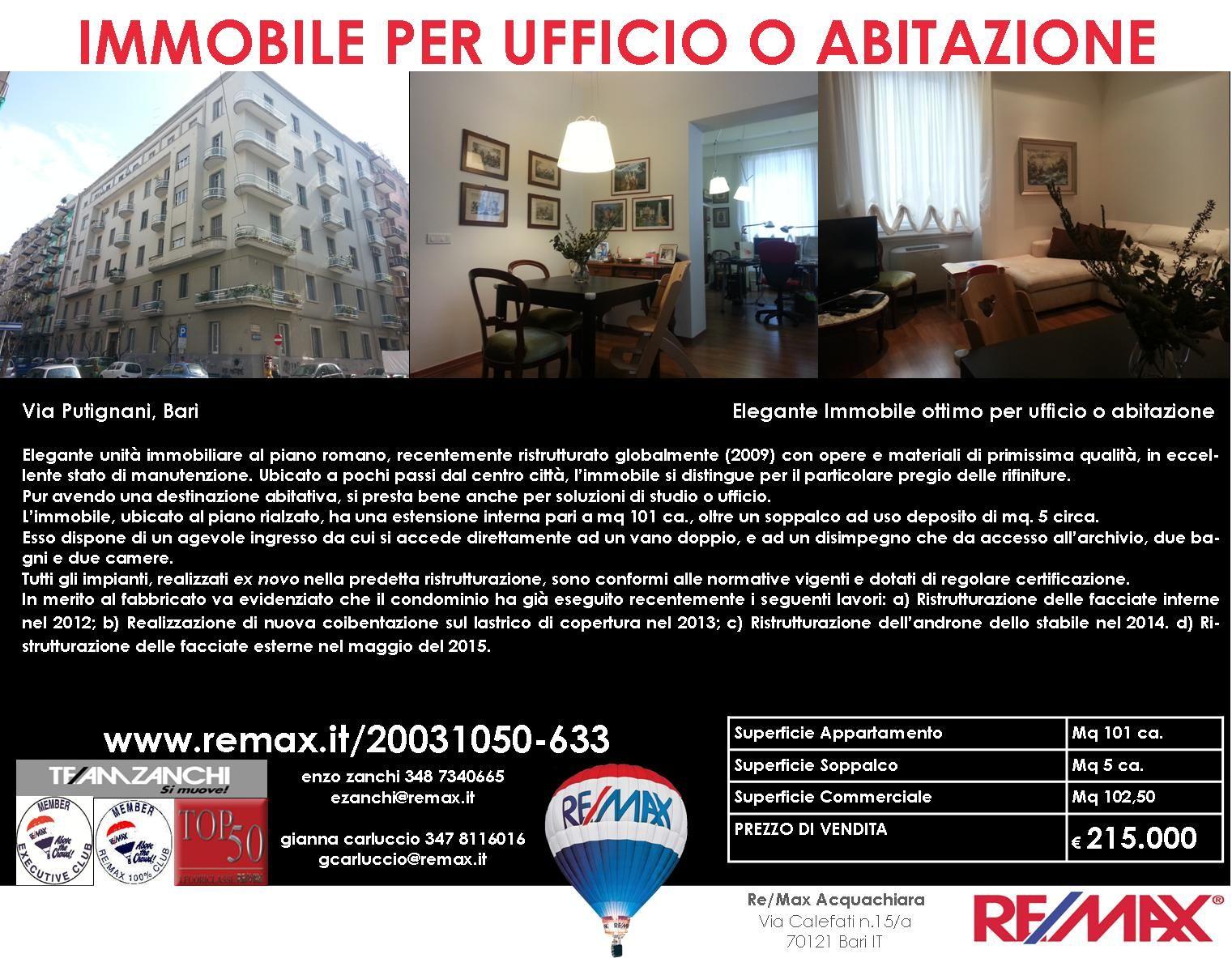 Bari, Via Putignani Elegante Immobile ottimo per ufficio o abitazione www.remax.it/20031050-633 info 348 7340665