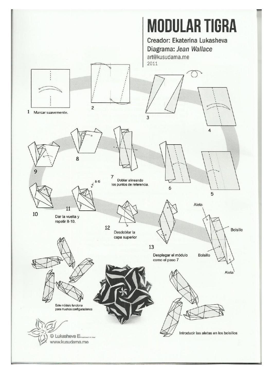 Pajarita 124 Pdf Pinterest Origami Flowers Diagrams Modular Tutorial Ball Kirigami