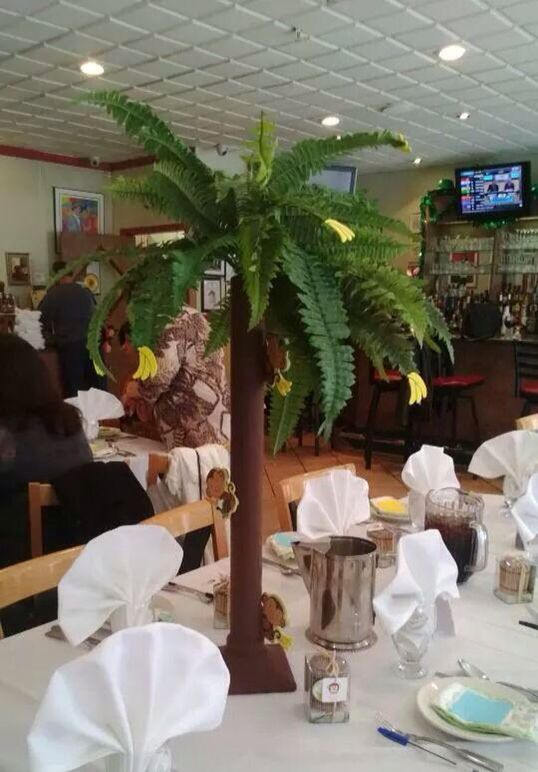 Palm Tree Centerpieces - made from pvc piping; artificial Fern plant; brown  felt wrapped - Palm Tree Centerpieces - Made From Pvc Piping; Artificial Fern