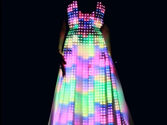 This hypnotic, color-shifting gown, inspired by the aurora borealis, includes hundreds of Swarovski crystals and 10,000 pulsating LEDs!