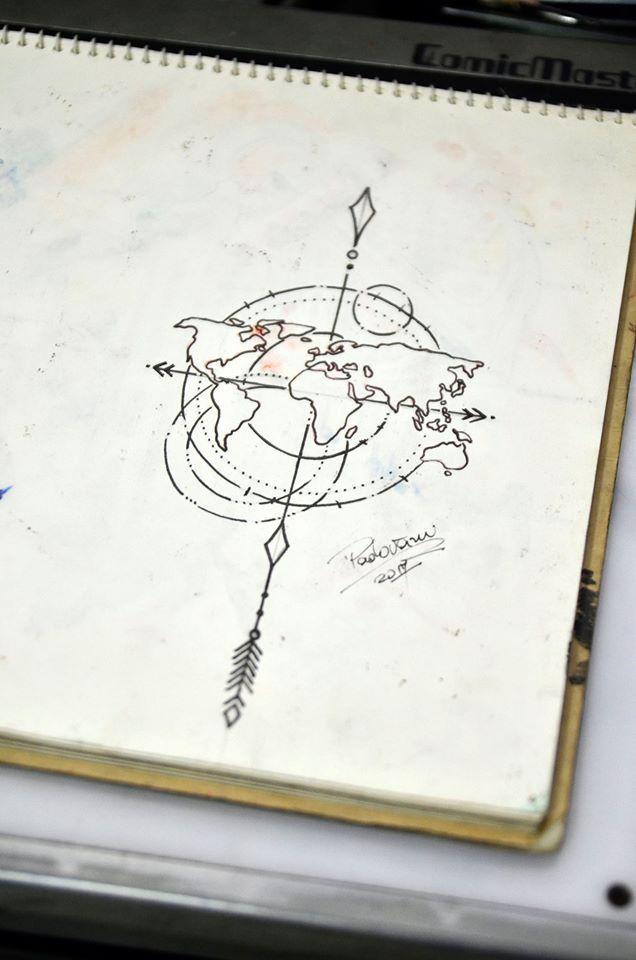tattoo mapa mundi mapa mundi   tattoo sketch   Thiago Padovani   Random   Pinterest  tattoo mapa mundi