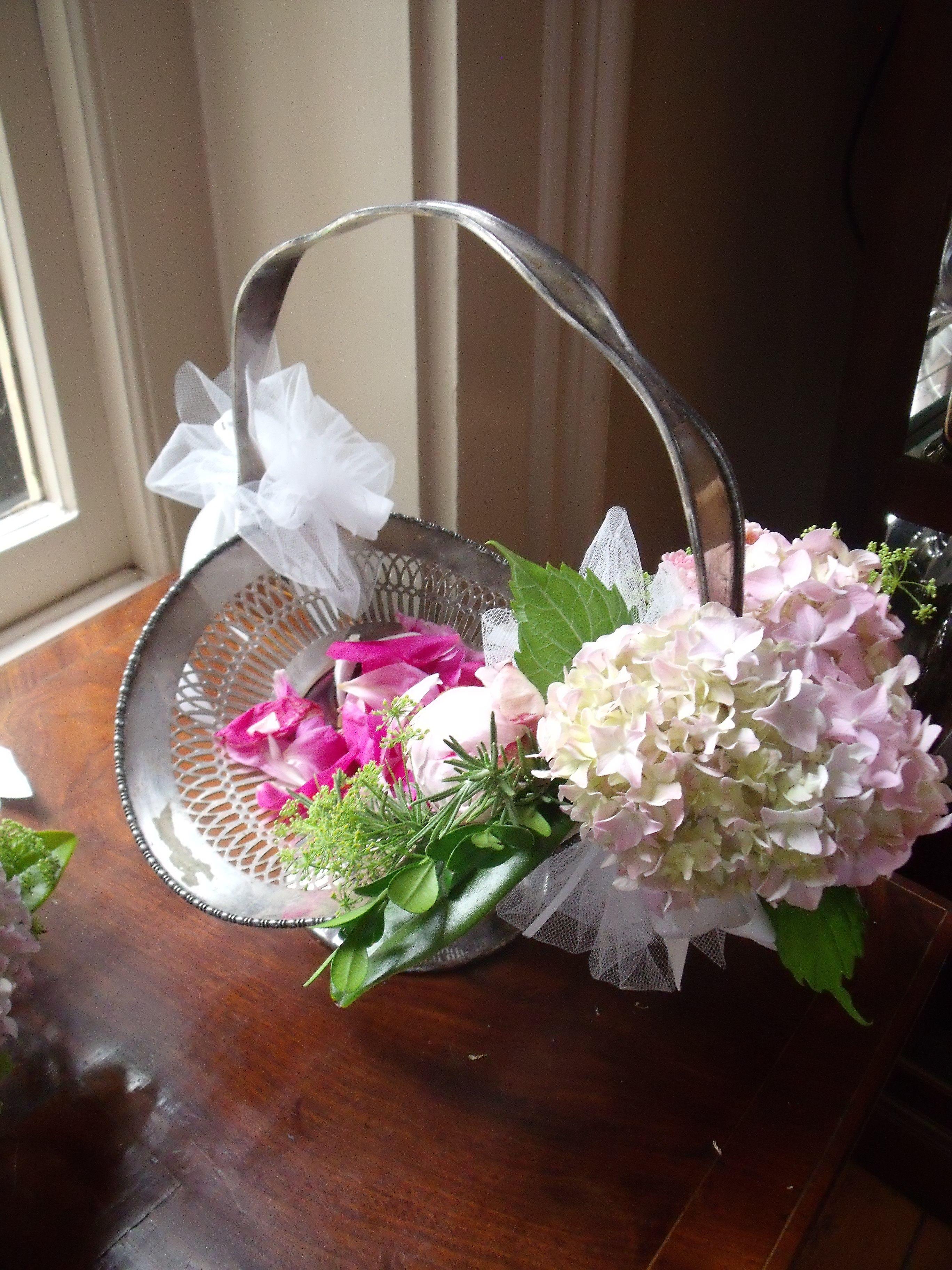 Hazelfield Farm Flowers Spring Flower Girl Basket In Silver