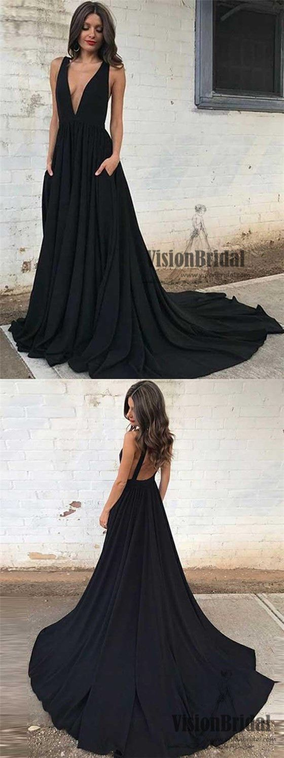 Classy black deep vneck open back aline prom dress with trailing