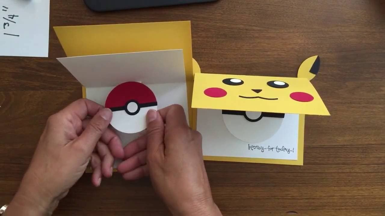 Birthday Cards Pop Up How To Make ~ Quick & easy pop up card with pikachu and pokemon pokeball. see more