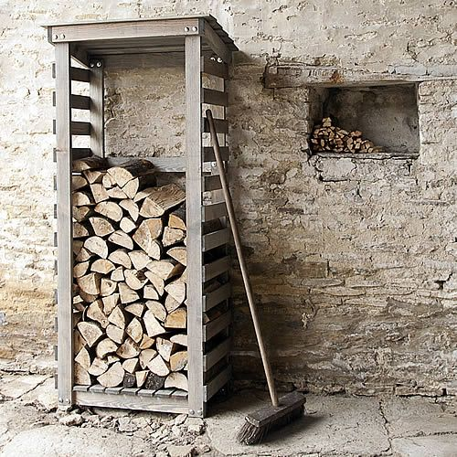 Lovely Compact Log Store At Store. This Compact Rustic Spruce Wood Log Store Is  Ideal For Storing Firewood In In A Small Cityu2026
