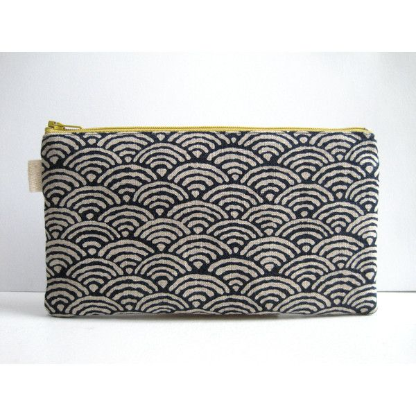 Seigaiha Indigo Print. Pencil Case, Pencil Pouch. Traditional Japanese... ($20) ❤ liked on Polyvore featuring home, home decor, office accessories, zip pencil pouch, zipper pouch, fabric pencil pouch, zip pouch and zipper pencil case