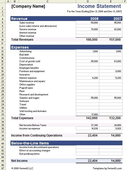 Download the Income Statement Template from Vertex42 Smiling - Financial Spreadsheet For Small Business