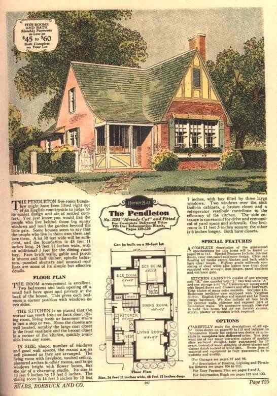Bungalows Of Sears Roebuck 1930 Modern Homes Catalog Page 125 Available 1930 Only Brick Veneer Vintage House Plans House Plans