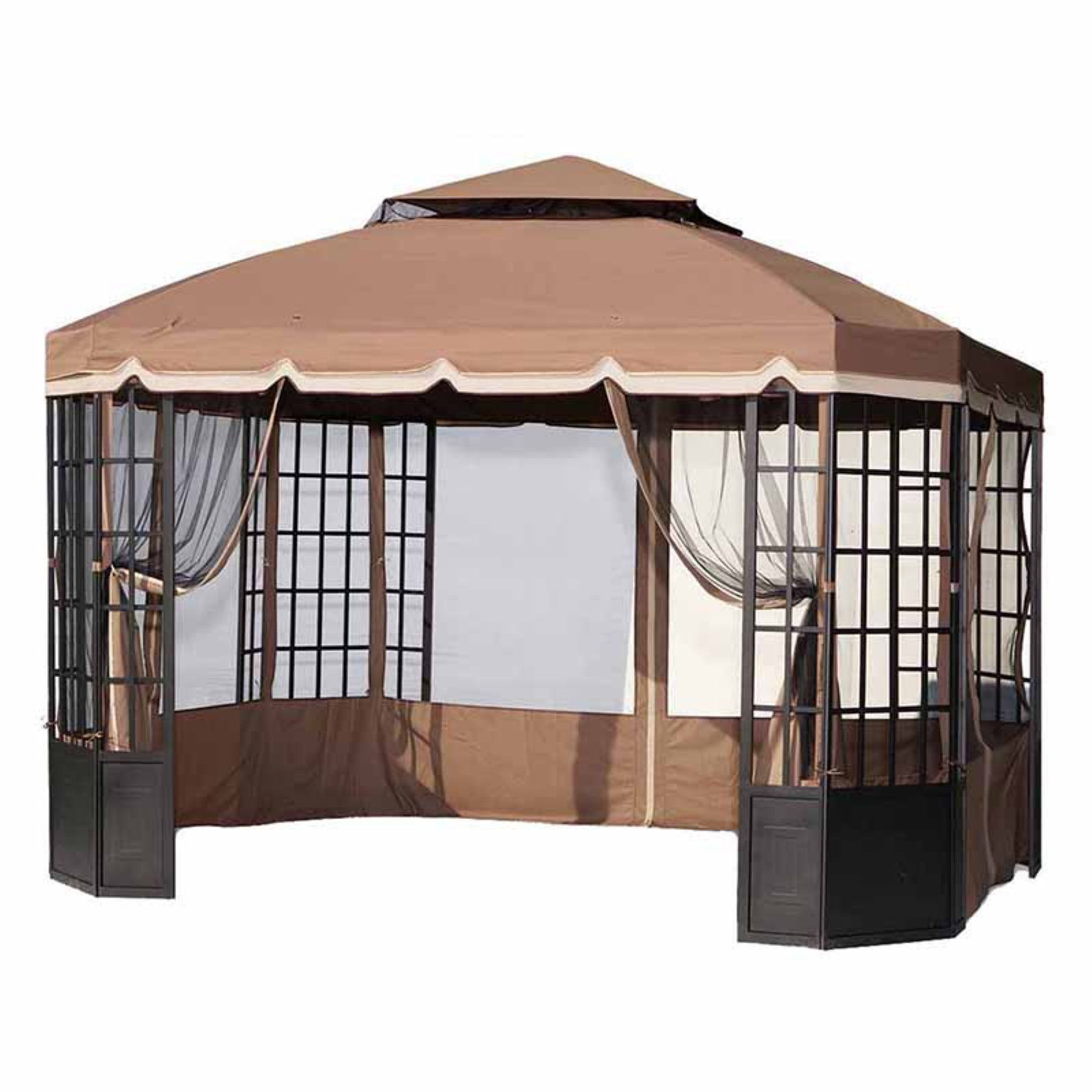 Sunjoy 10 X 12 Ft Replacement Canopy Cover For L Gz120pst 2 Spring Bay Window Gazebo Gazebo Replacement Canopy Bay Window