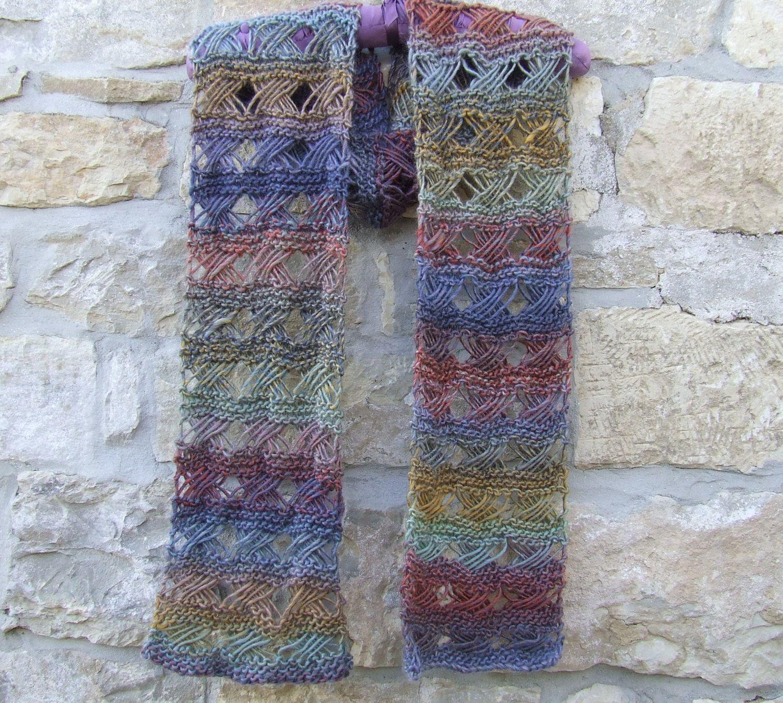 Handknit scarf , Multi knit scarf , Cross stitch scarf , Woolen pattern scarf…