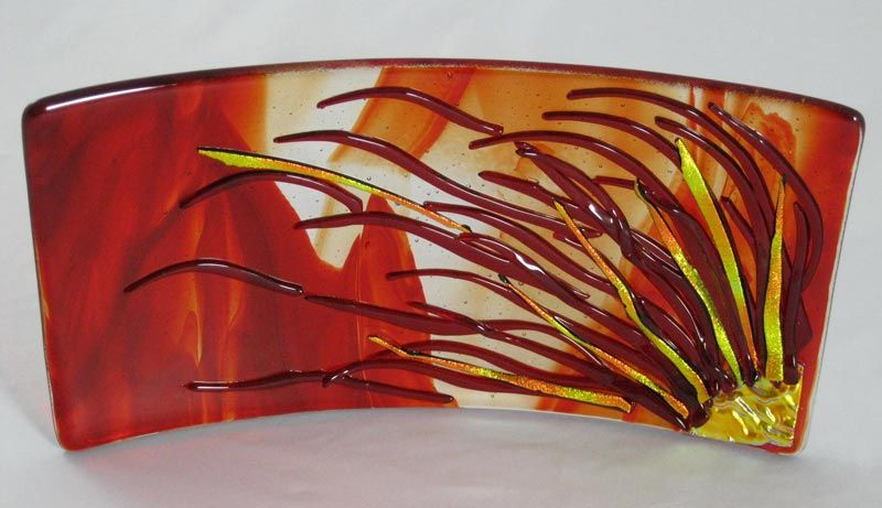 Red Fern | fused glass | Fused glass art, Glass, Fused glass