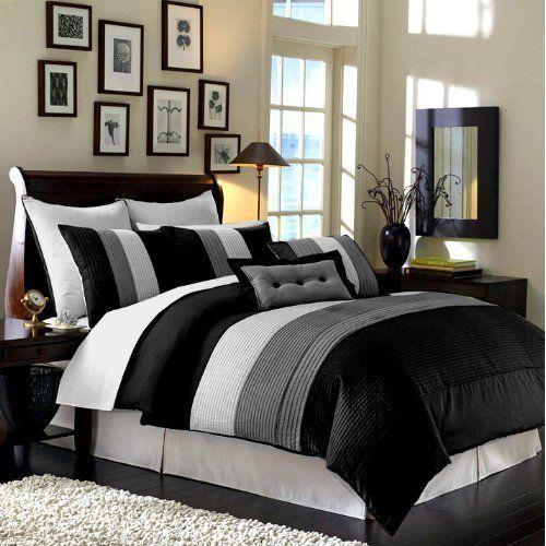 Amazon Com Chezmoi Collection 8 Pieces Black White Grey Luxury Stripe Comforter 90 X92 Be Amenagement Chambre A Coucher Literie Noire Ensembles De Literie