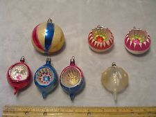 LOT OF 7 ANTIQUE BLOWN MERCURY GLASS 5 INDENT CHRISTMAS TREE ORNAMENTS POLAND