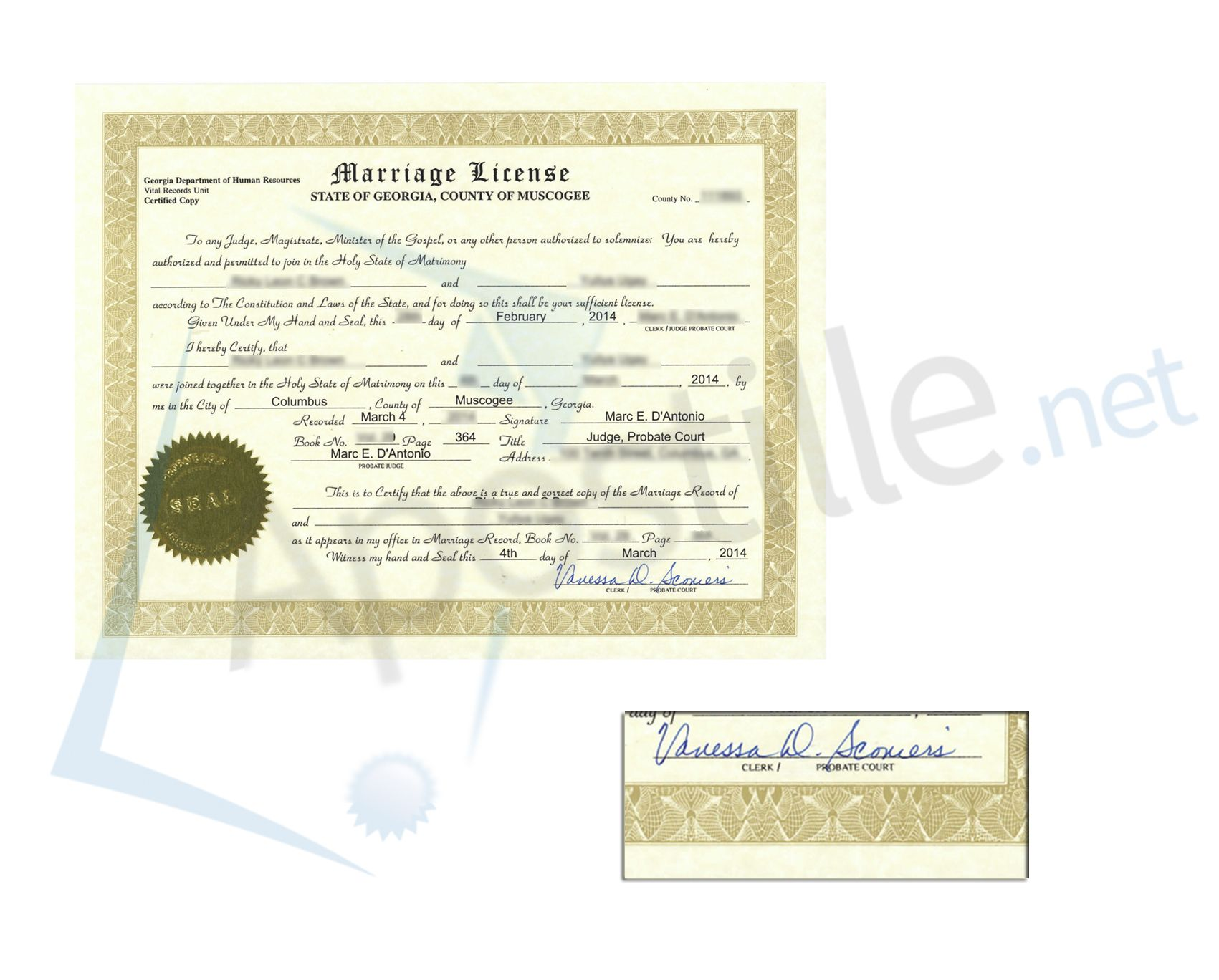 County Of Muscogee Georgia Marriage License Signed By The County