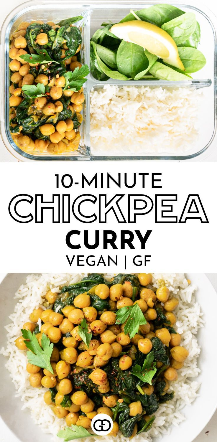 10 Minute Chickpea Curry Perfect For Meal Prep Recipe In 2020 Vegan Dinner Recipes Vegan Curry Recipes Vegetarian Recipes