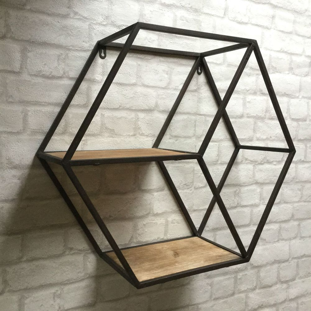Details About Vintage Industrial Style Metal Wall Shelf