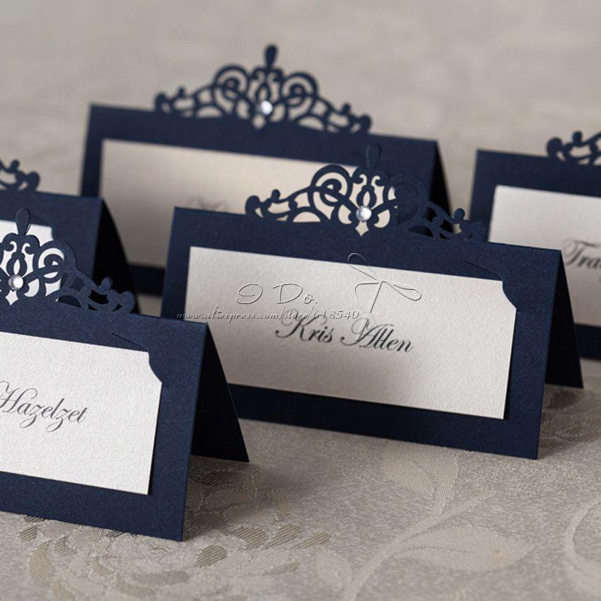 pas cher livraison gratuite 24cs royale bleu lieu titulaire de la carte de mariage d coration. Black Bedroom Furniture Sets. Home Design Ideas