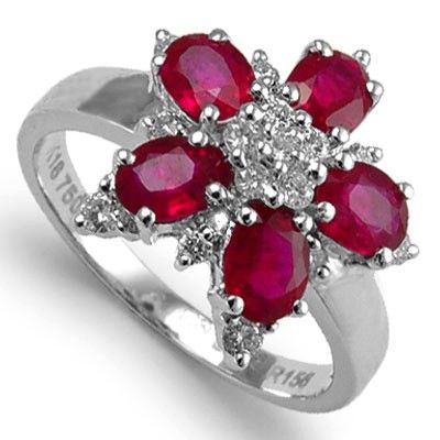 Flower Red Ruby and Diamond Ring Thailand fashion jewelry