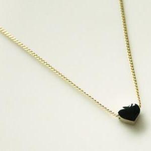 Black tiny heart simple nec..
