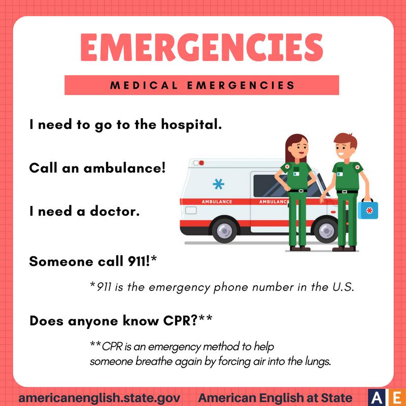 Phrases Emergencies Medical Emergencies Aprender Ingles