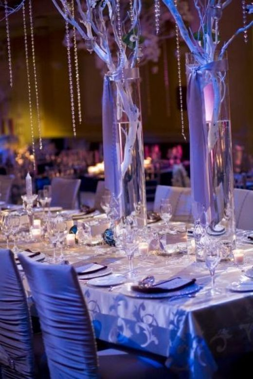 Crystal Tree Centerpieces With Cylinders For The Reception Brings An Elegant Winter Feel Tealights Custom Table Linens Can Be Rented Locally Or