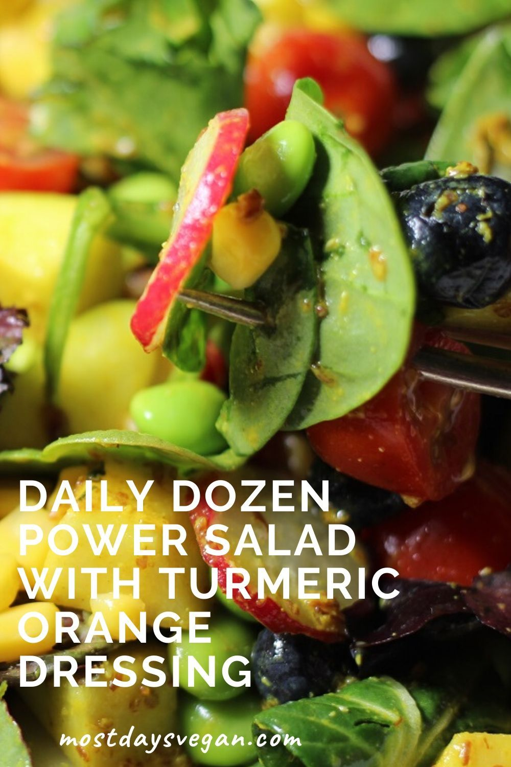This Daily Dozen Power Salad with Turmeric Orange Dressing checks off ten of Dr. Greger's Daily Dozen boxes for you! Not only that, but it's also delicious.
