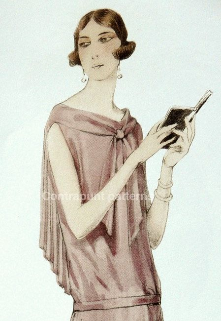 1920s Sewing Pattern For Party Dress Sailor Neck Line Triple