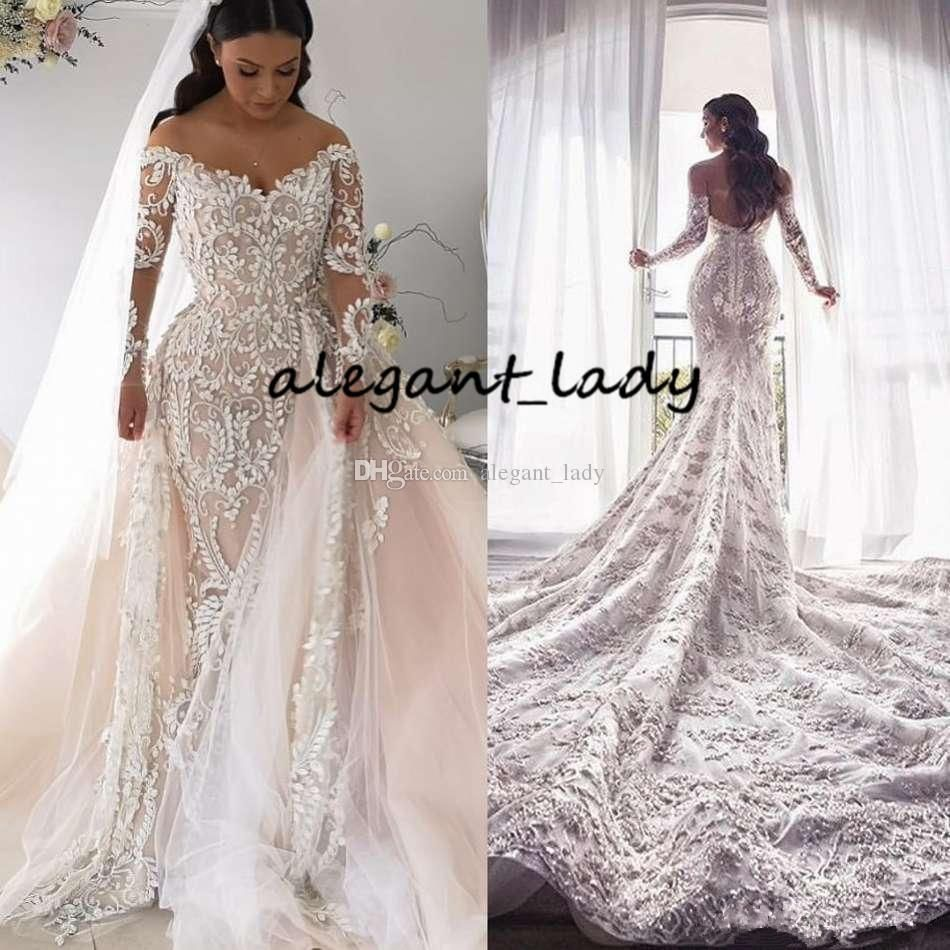 Plus Size Mermaid Wedding Dresses With Long Sleeve 2020 Off Shoulder Lace Applique Cathedral Online Wedding Dress Sheer Wedding Dress Bridal Gowns Mermaid [ 950 x 950 Pixel ]