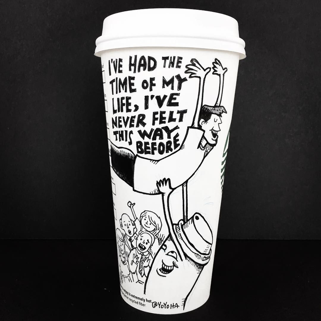 Starbucks cup illustrated by Josh Hara Coffee cup art