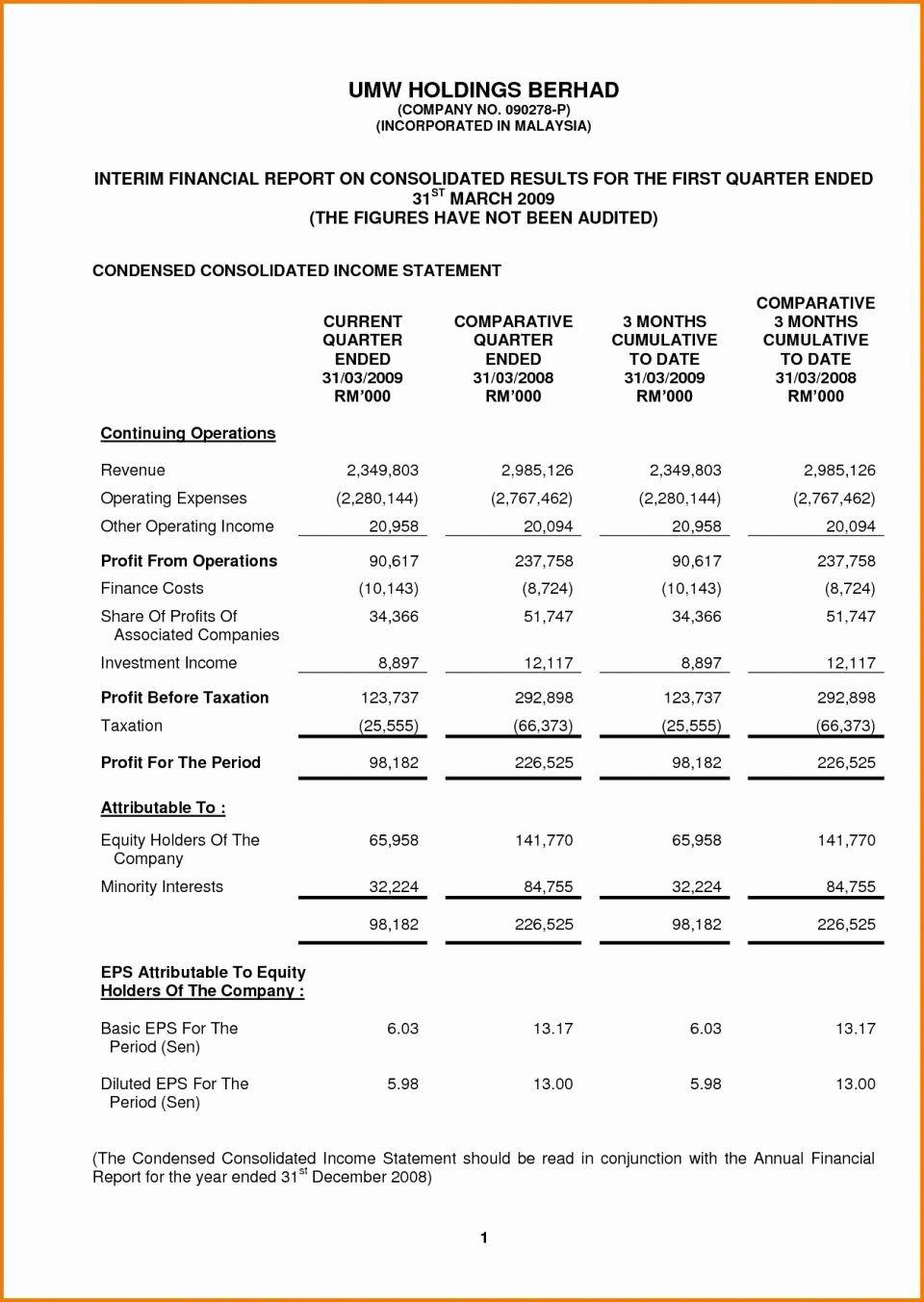 Interim Financial Statement Template In 2020 Statement Template