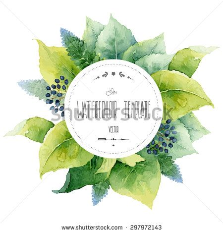 Round Watercolor Template With Green Leaves And Circular