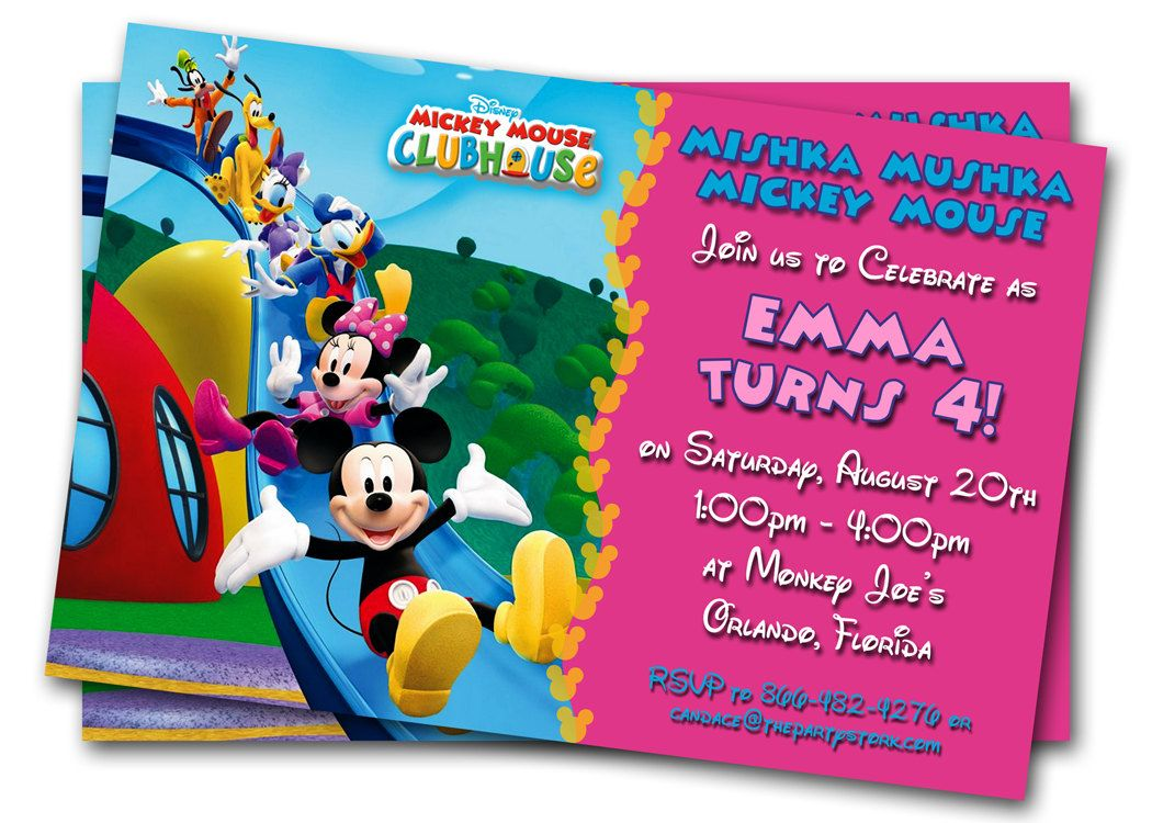 Minnie Mouse Birthday Invitations Printable Custom Kids Photo – Custom Printed Birthday Cards