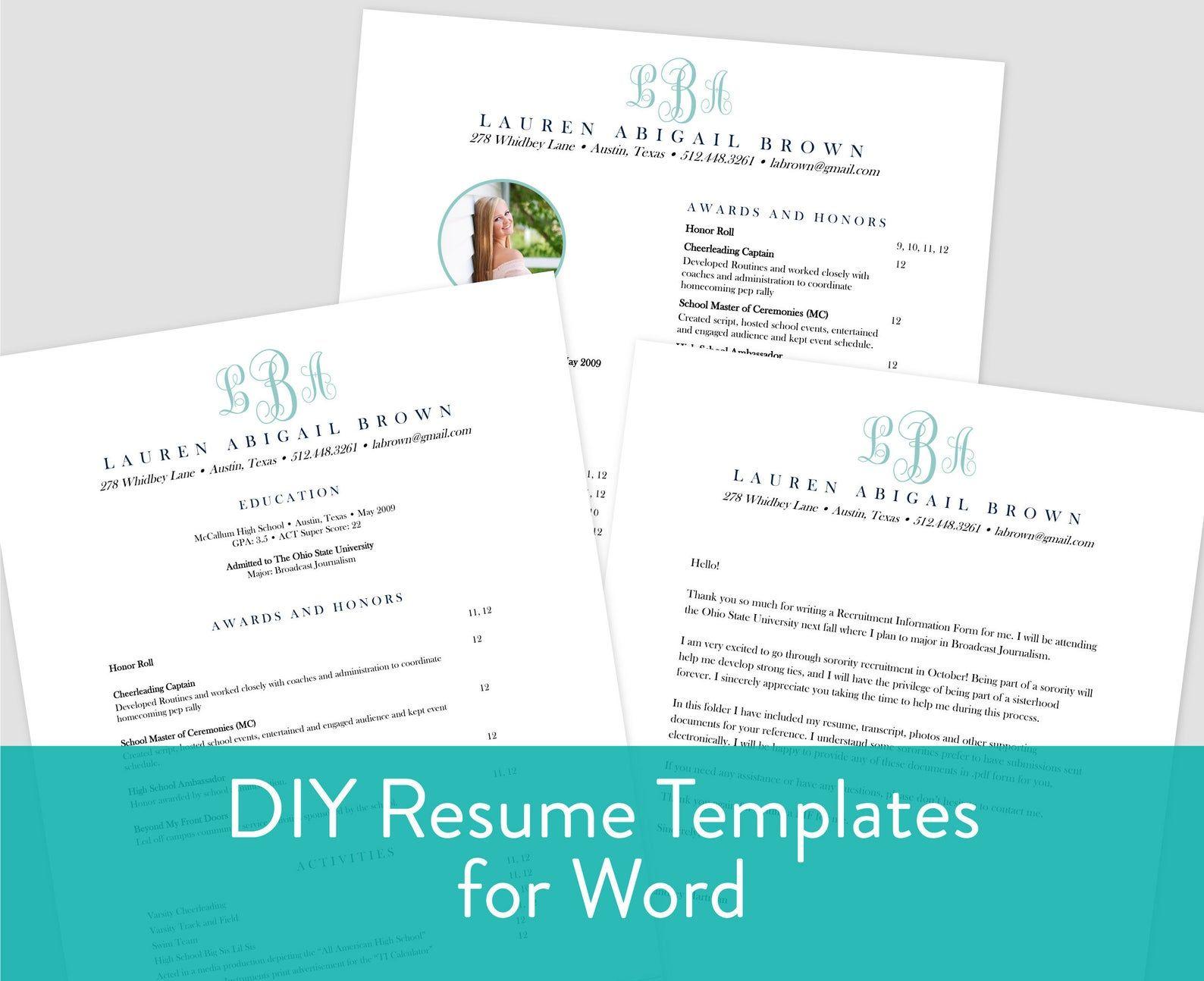 Editable microsoft word sorority resume template cover