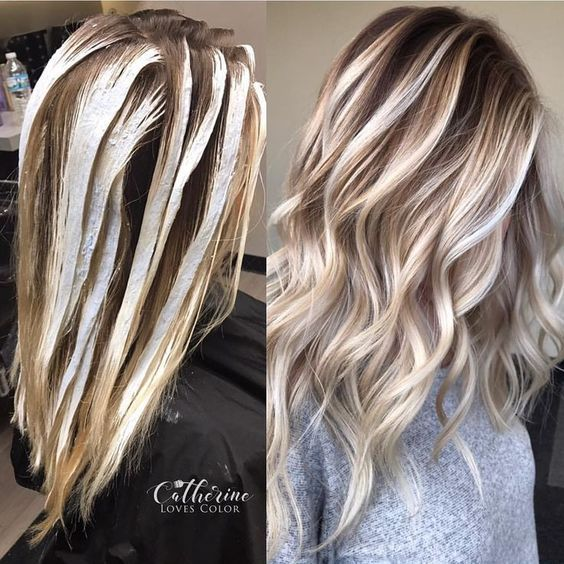 Trendy Hair Highlights  Balayage application  finished  Oligo clay lightener with just a d Trendy Hair Highlights  Balayage application  finished  Oligo clay lightener wi...