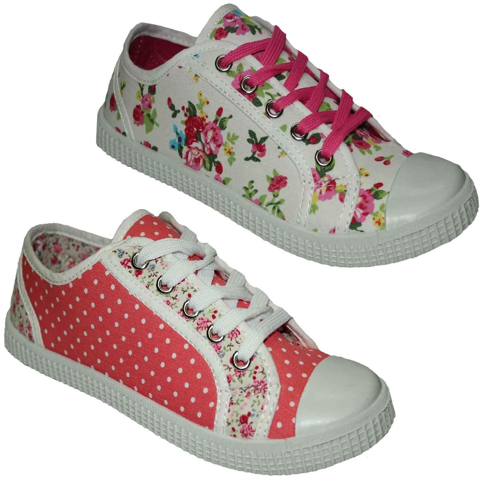 La s Canvas Shoes Retro Lace Up Womens Pumps Plimsoles Trainers