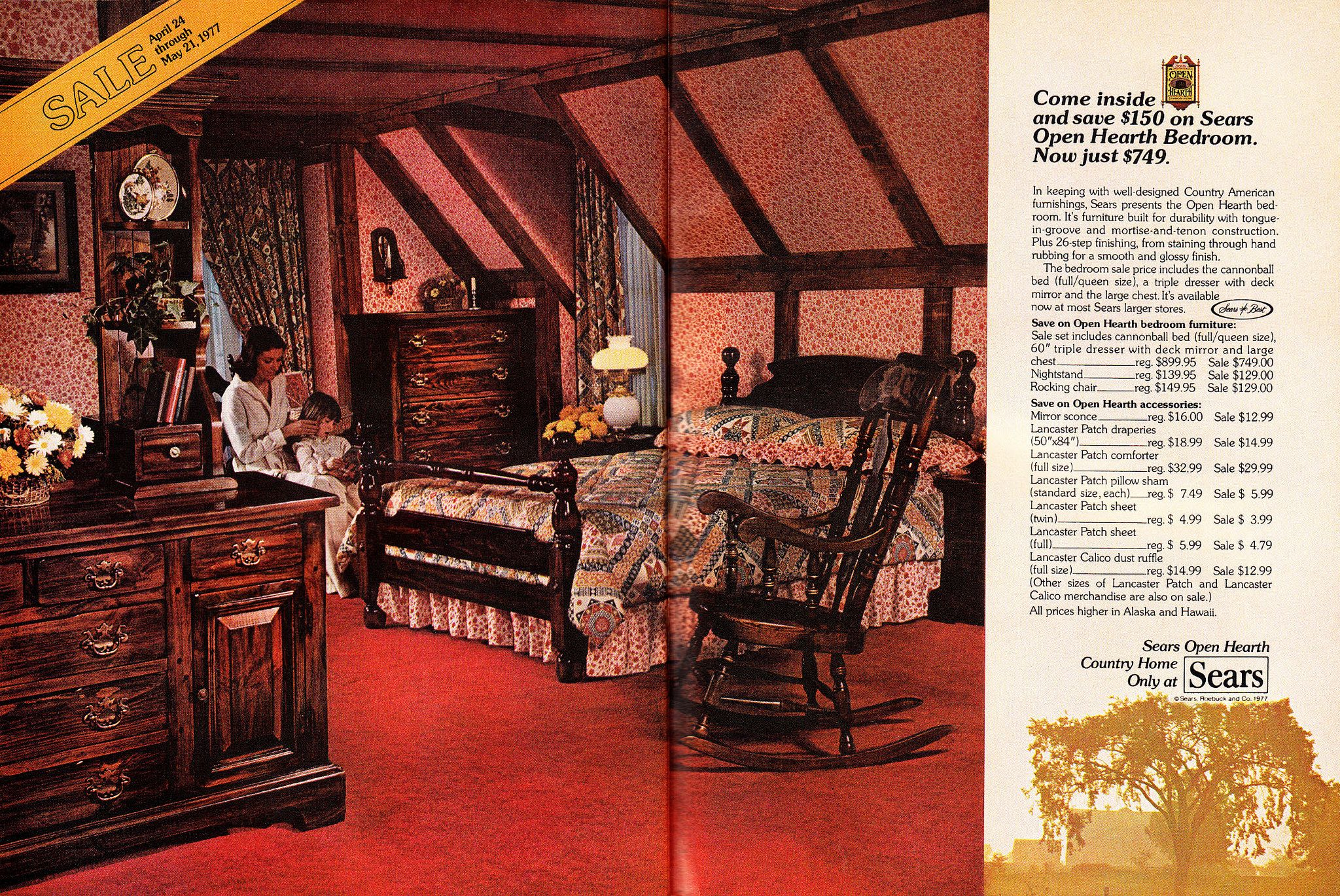 3 Ad, Sears Open Hearth Bedroom Furniture Set, Mother with