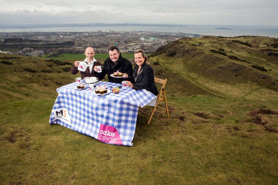TV and radio presenter Grant Stott quite literally enjoyed a 'High Tea' at the top of Arthur's Seat in Edinburgh with Belinda Weller, Consultant Neurologist and Matthew Justin, MS Nurse. Photos by DN Anderson