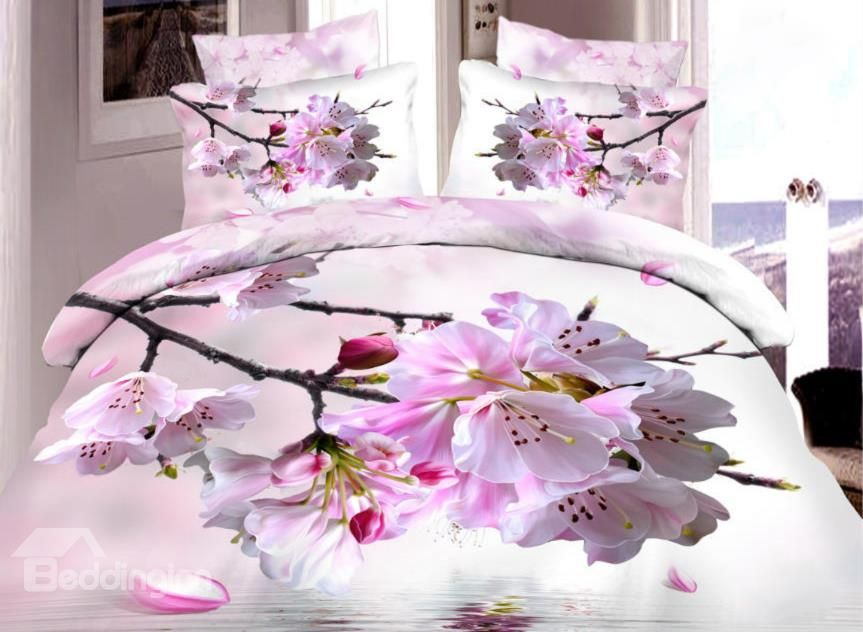 Very Beautiful Pink Peach Blossom Print 4 Piece Duvet Cover Sets Bed Comforter Sets Duvet Cover Sets Bed Linens Luxury
