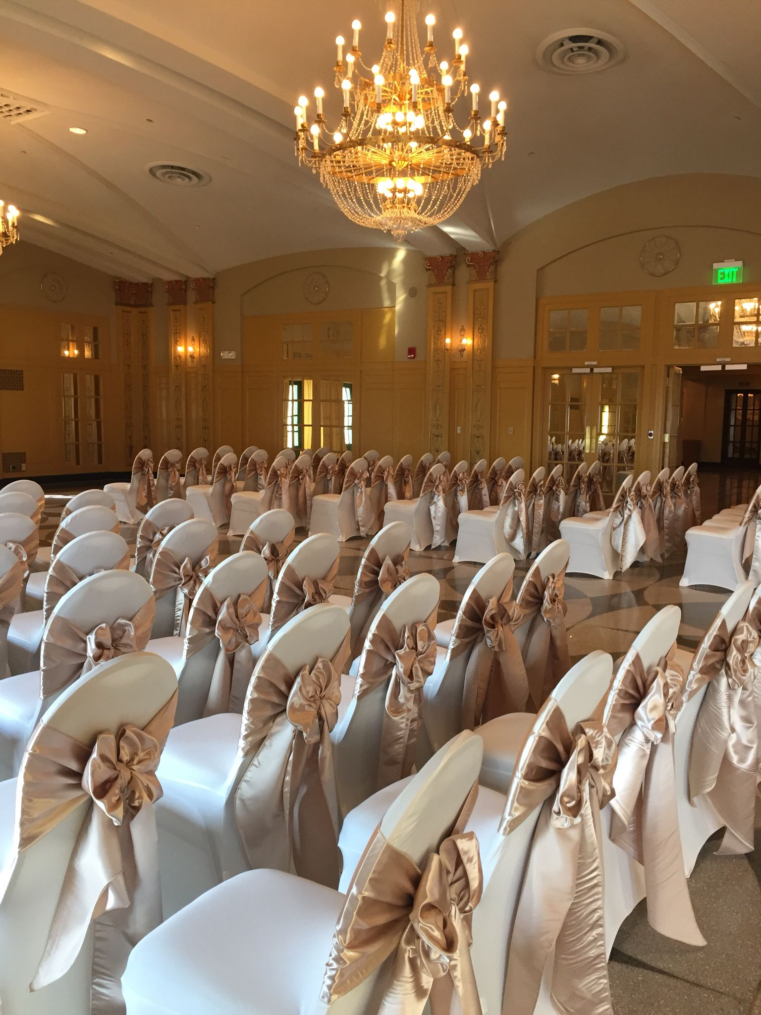 Spandex Chair Cover Rental Atlanta Beach Chaise Lounge Champagne Satin Sashes On Ivory Covers In The Congress Ballroom Hilton President