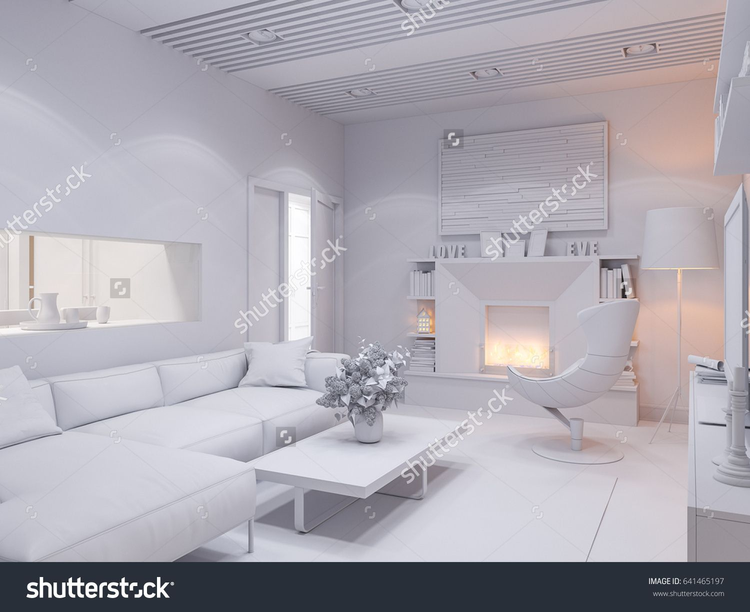 illustration of the interior design living room style apartment is modern render without textures and materials also rh au pinterest
