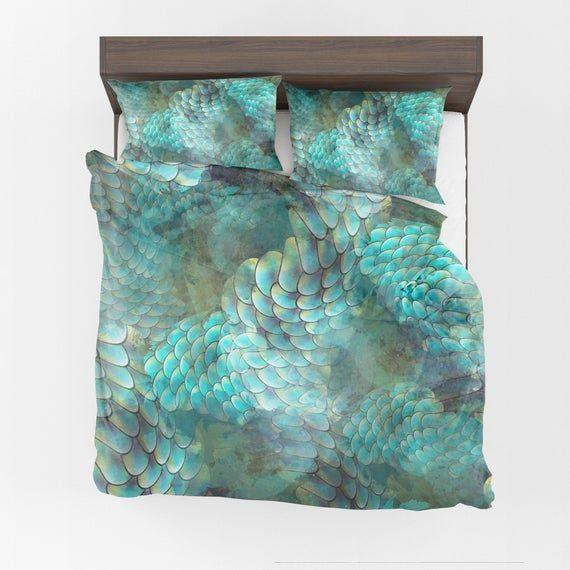 Mermaid Scales Comforter Or Duvet Cover Aqua Bedding Ocean