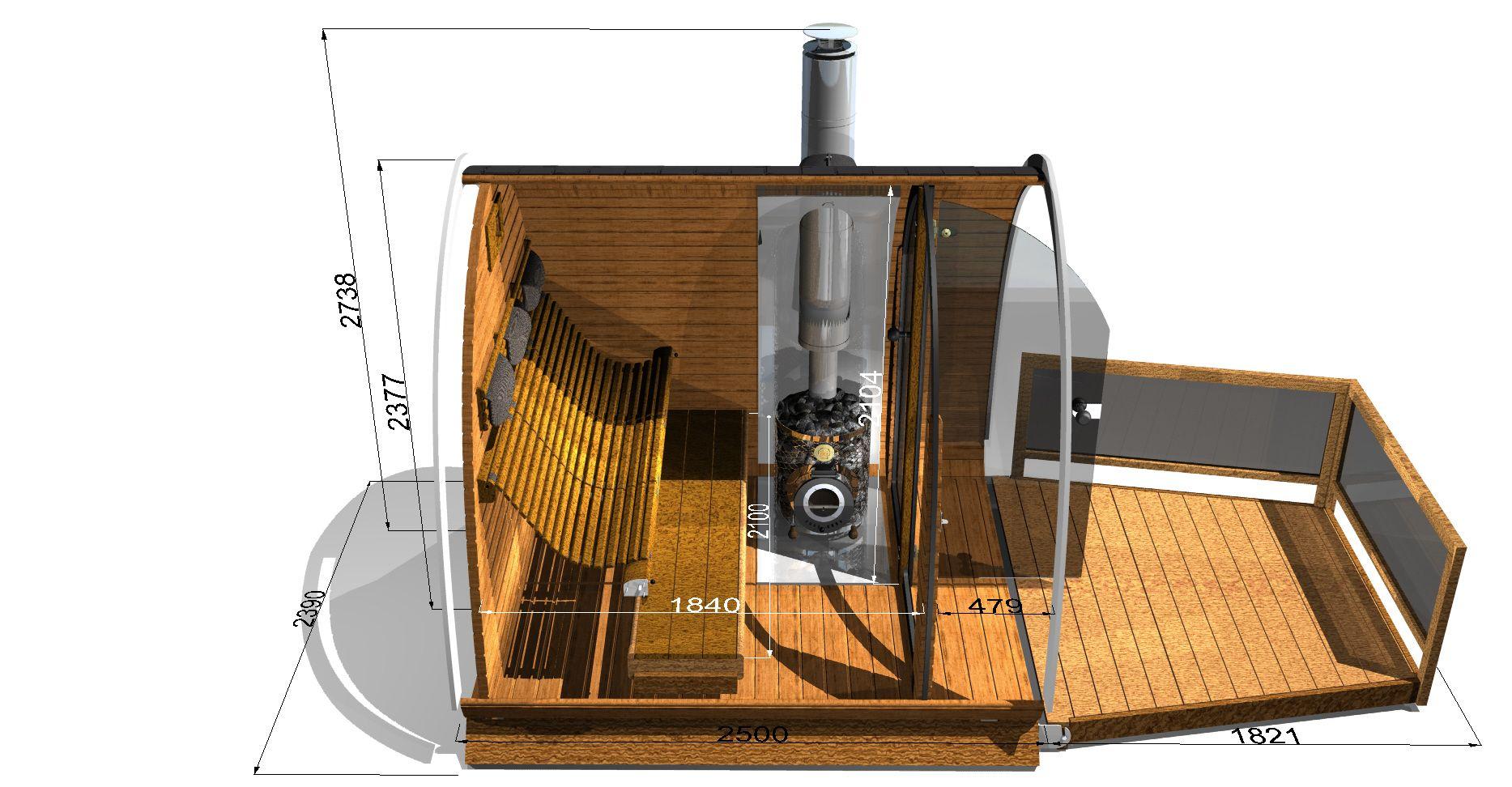 Interieur en afmetingen van de nieuwe sauna koli. zie ook http