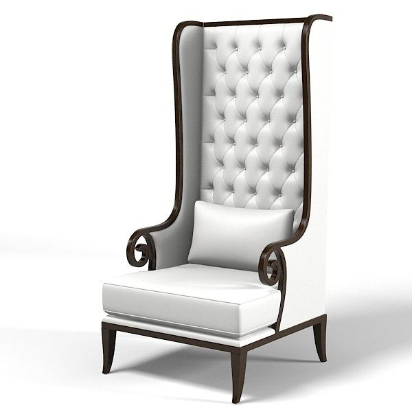 Tall Porters Wing 3d Model High Tall Porters Wing Chair Tufted