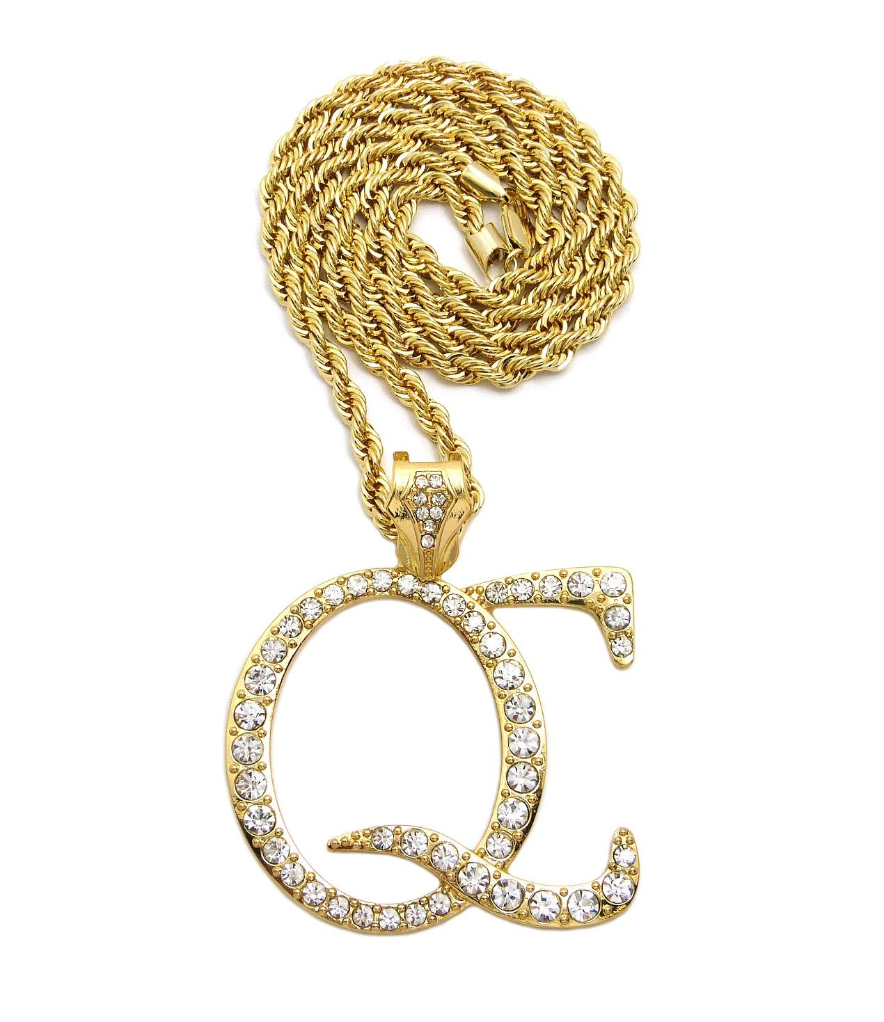 Iced Out Qc Pendant 24 Chains Hip Hop Necklaces Hops Necklace Pendant Necklace