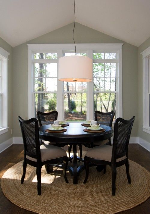 Benjamin Moore Prescott Green Dining Room With Drum Chandelier Dark Small Round Table Circular RUG Morning Colors