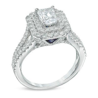 Vera Wang LOVE Collection 2 CT. T.W. Emerald-Cut Diamond Double ...