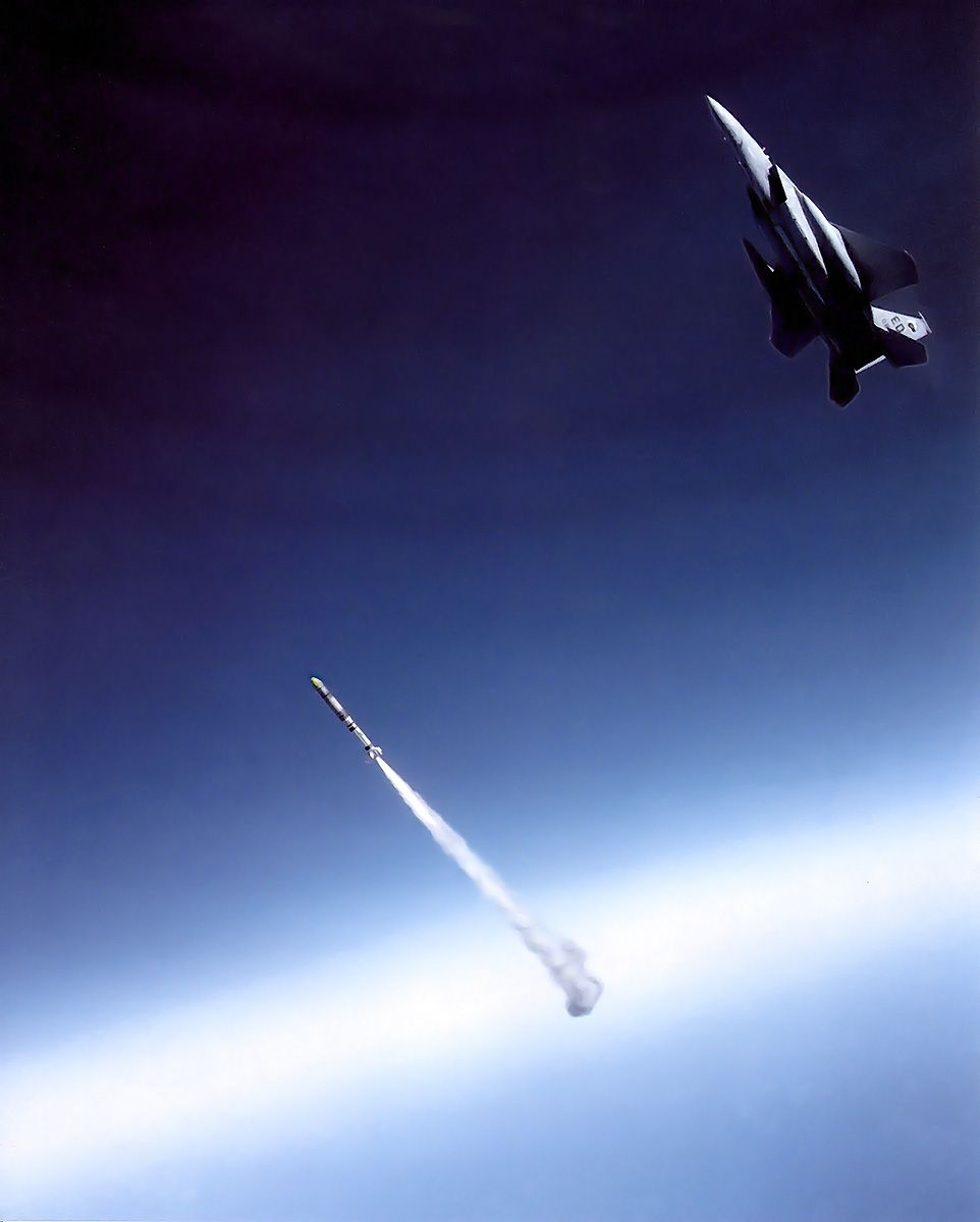 ASM-135 ASAT anti-satellite missile being launched by an F-15 Eagle.