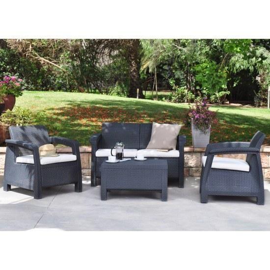 Strange Keter Corfu Rattan Garden Furniture Set Anthracite 300 Download Free Architecture Designs Sospemadebymaigaardcom